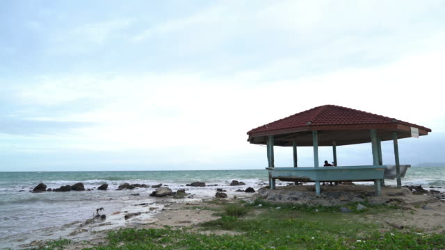 old wood pavilion with beach and sea - pavilion video stock e b–roll