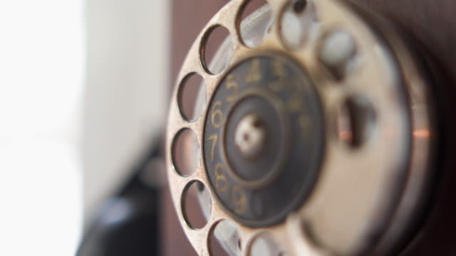 old wooden rotary phone - telephone dial stock videos & royalty-free footage