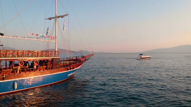 old wooden ship in saranda - dusk stock videos & royalty-free footage