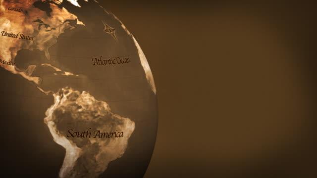 旧世界のグローブ(hd loop - 茶色背景点の映像素材/bロール