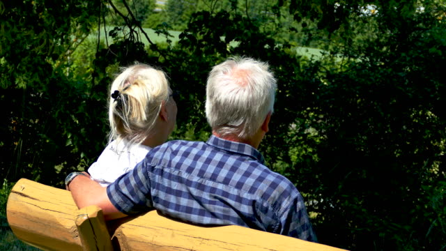 older couple sits on a bench in spring - sitzen stock videos & royalty-free footage