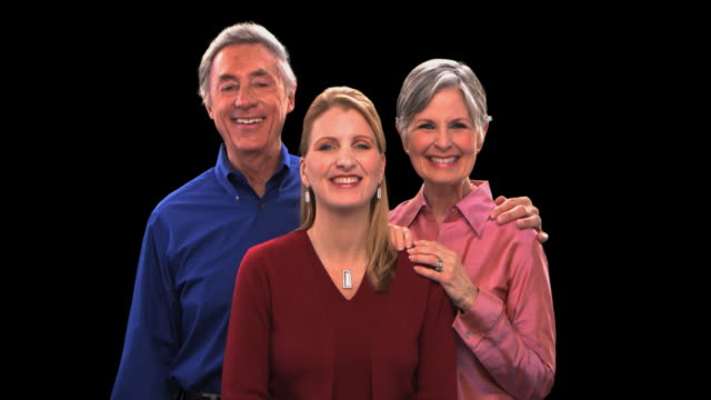 older couple with woman - this clip has an embedded alpha-channel - keyable stock videos & royalty-free footage