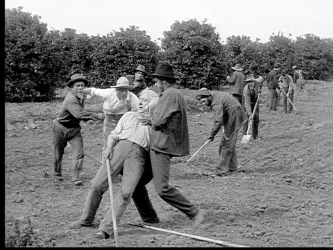 vídeos de stock, filmes e b-roll de 1913 ws b&w older man collapsing as he works in field/ men catching him/ police officer pointing - heart attack