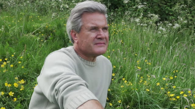 older man sat in meadow looking into distance - einzelner senior stock-videos und b-roll-filmmaterial