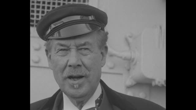 cu older man with moustache and goatee in sea captain's hat talking and smiling / note exact year not known documentation incomplete - goatee stock videos & royalty-free footage