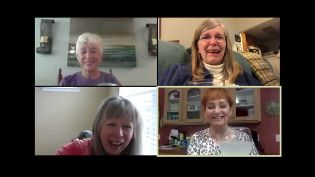 older women toast their glasses during a virtual happy hour - wine glass stock videos & royalty-free footage