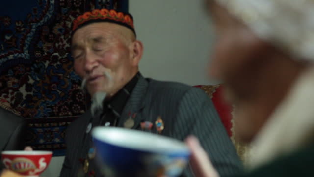 oldest kazakh couple at wedding party - kazakhstan stock videos and b-roll footage