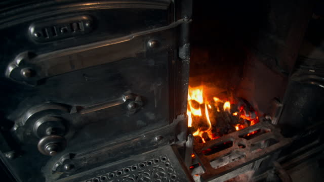 old-fashioned coal-fired range oven - fade in video transition stock videos & royalty-free footage