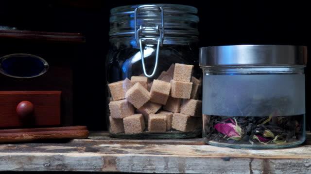 old-fashioned kitchen shelf - sacca video stock e b–roll