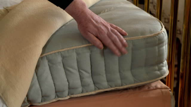 old-fashioned pocket-sprung mattress - victorian stock videos & royalty-free footage