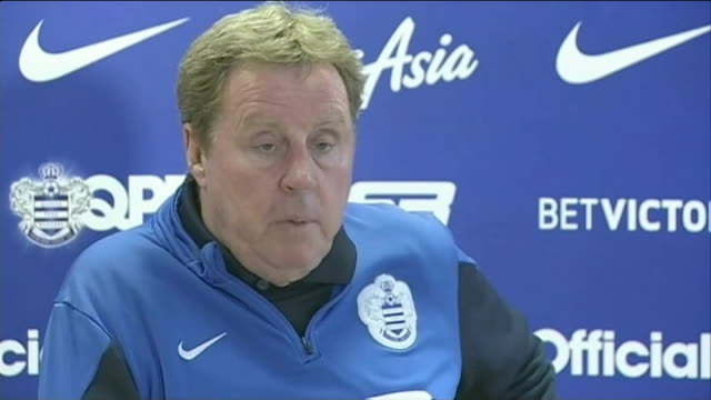 oldham athletic say that threats to staff have stopped them signing ched evans; int harry redknapp interview sot - ハリー レッドナップ点の映像素材/bロール