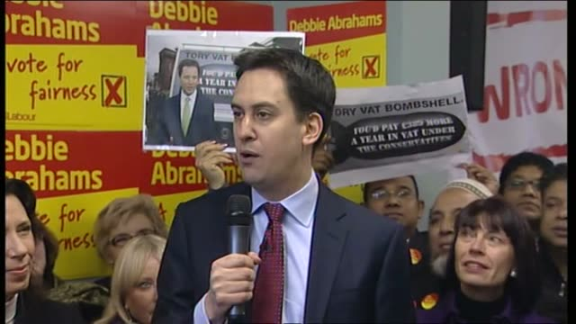 labour leader ed miliband arrives in oldham england lancashire oldham shots * * crowd of supporters waiting outside debbie abrahams' constituency... - poster design stock videos and b-roll footage