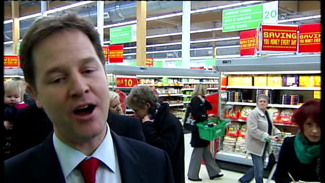 oldham east and saddleworth by-election: nick clegg joins campaign trail; england: lancashire: oldham: ext nick clegg mp campaigning with liberal... - vat stock videos & royalty-free footage