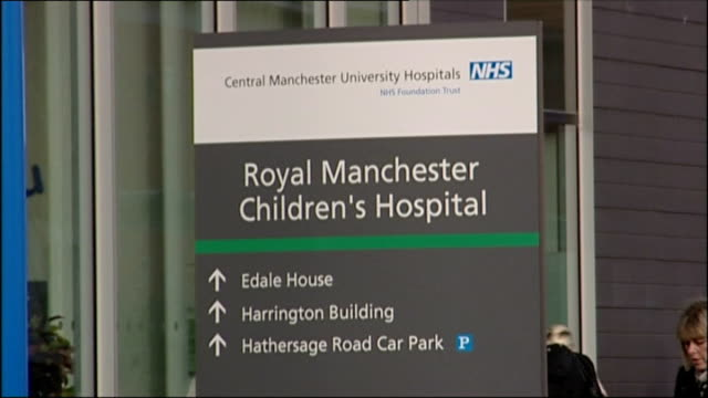 two men and a woman held on suspicion of murdering a baby england manchester ext 'royal manchester children's hospital' sign hospital buildings with... - royal stock videos and b-roll footage
