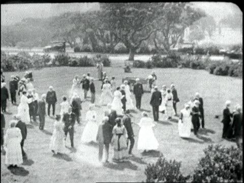 oldtimers square dance / choose your partners / older couples dressed in 1860s attire dance at outdoor gathering oldtimers square dance on june 01... - 1918 stock videos and b-roll footage