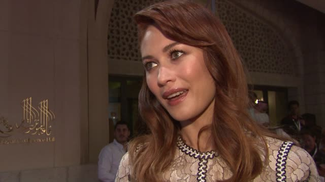 interview olga kurylenko on her new movie her first time to dubai and working with russell crowe at 'the water diviner' red carpet 11th annual dubai... - russell crowe stock videos & royalty-free footage