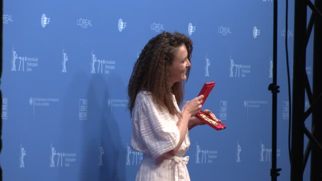 """olga lucovnicova, winner of the golden bear for the best short film for their movie """"nanu tudor"""" poses with their trophy during a photocall after the... - celeb stock videos & royalty-free footage"""