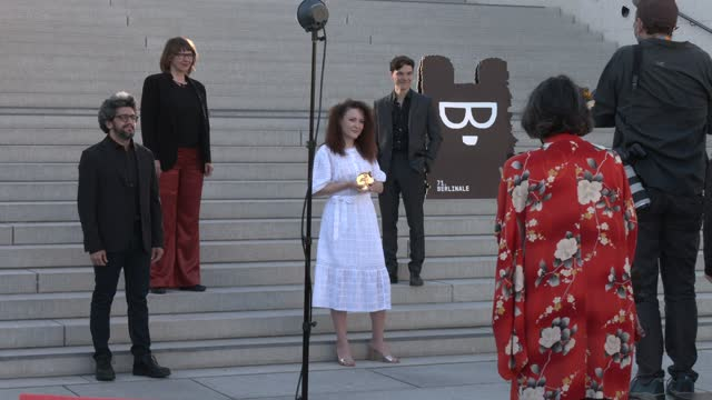 """olga lucovnicova , winner of the golden bear for the best short film for their movie """"nanu tudor"""" poses with the jurors basim magdy, christine a.... - celeb stock videos & royalty-free footage"""