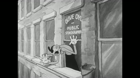 vidéos et rushes de 1937 olive oyl contorts and screams in shock and disgust as she looks out of her office window - cartoon