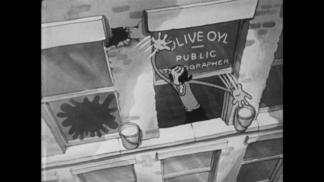 1937 olive oyl screams hysterically out of her office window - chaos stock videos & royalty-free footage