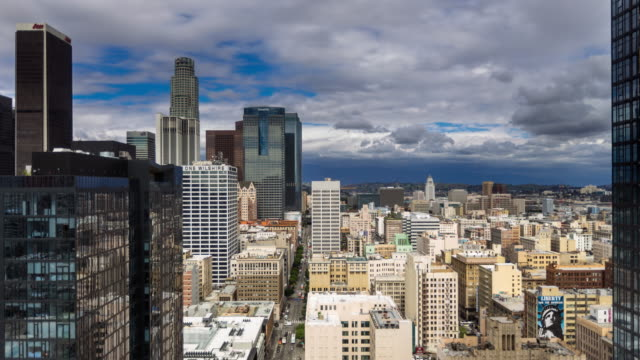 Olive Street and Downtown LA from High Up - Time Lapse