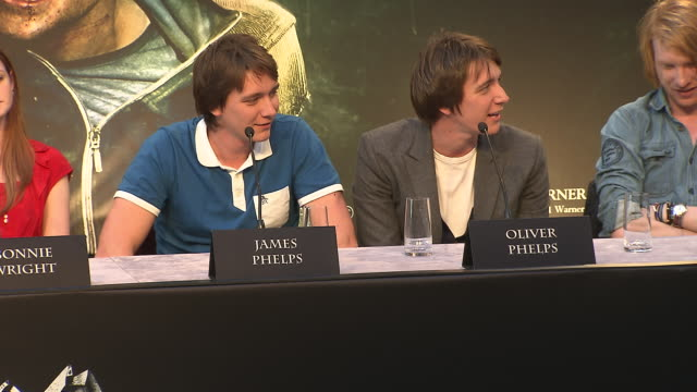 oliver and james phelps on playing practical jokes one set at the harry potter the deathly hallows part 2 press conference at london england - oliver phelps stock videos & royalty-free footage