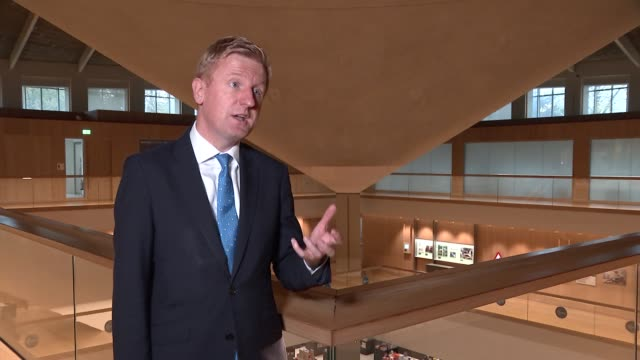 stockvideo's en b-roll-footage met oliver dowden interview; england: london: design museum: int oliver dowden mp interview sot - today is a really important day, this is when we give... - arts culture and entertainment