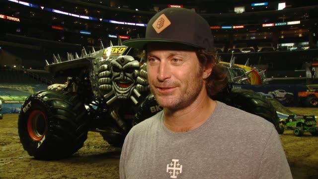 INTERVIEW Oliver Hudson on being here on his kids on their favorite trucks on his show Splitting Up Together at Monster Jam Celebrity Event at...