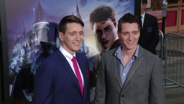oliver phelps and james phelps at the wizarding world of harry potter vip press event at universal studios hollywood on april 05 2016 in universal... - oliver phelps stock videos & royalty-free footage