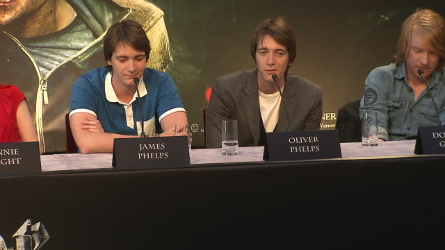 oliver phelps on his favorite line from the films at the harry potter the deathly hallows part 2 press conference at london england - oliver phelps stock videos & royalty-free footage