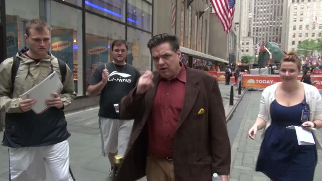 oliver platt exits the today show in rockefeller center signs for fans before leaving in celebrity sightings in new york - oliver platt stock videos & royalty-free footage