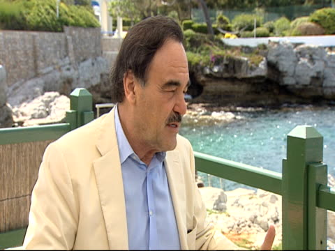 stockvideo's en b-roll-footage met oliver stone on choosing shia labeouf and carey mulligan for the film at the wall street money never sleeps interviews cannes film festival 2010 at... - oliver stone