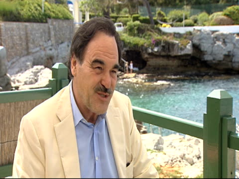 stockvideo's en b-roll-footage met oliver stone on emotional intelligence of the film at the wall street money never sleeps interviews cannes film festival 2010 at antibes - oliver stone
