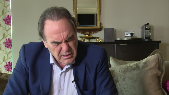 stockvideo's en b-roll-footage met interview oliver stone on snowden's actions and drone warfare at lff interview oliver stone at odeon leicester square on october 17 2016 in london... - oliver stone