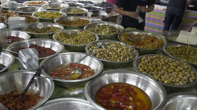 Olives for sale in the market.
