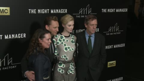"""olivia coleman, tom hiddleston, elizabeth debicki, and hugh laurie at """"the night manager"""" los angeles premiere at directors guild of america on april... - hugh laurie stock videos & royalty-free footage"""