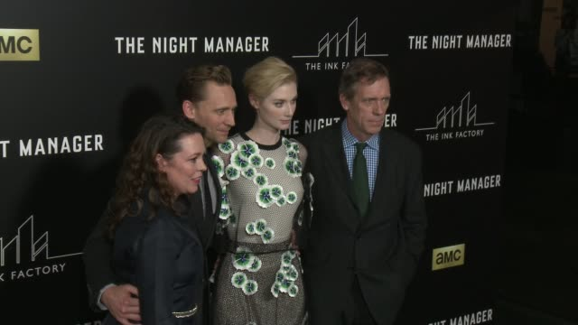 Olivia Coleman Tom Hiddleston Elizabeth Debicki and Hugh Laurie at The Night Manager Los Angeles Premiere at Directors Guild Of America on April 05...