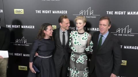 olivia coleman, tom hiddleston, elizabeth debicki & hugh laurie at the premiere of amc's the night manager at dga theatre in west hollywood at... - hugh laurie stock videos & royalty-free footage