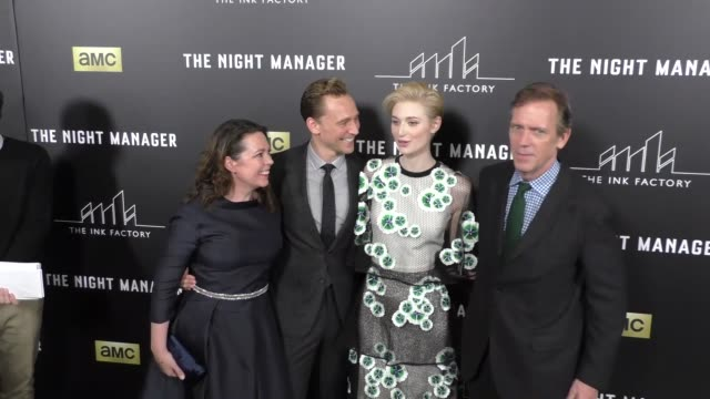 Olivia Coleman Tom Hiddleston Elizabeth Debicki Hugh Laurie at the Premiere Of AMC's The Night Manager at DGA Theatre in West Hollywood at Celebrity...