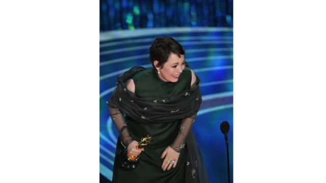Olivia Colman accepts the award for Actress in a Leading Role for 'The Favourite' onstage during the 91st Annual Academy Awards at Dolby Theatre on...