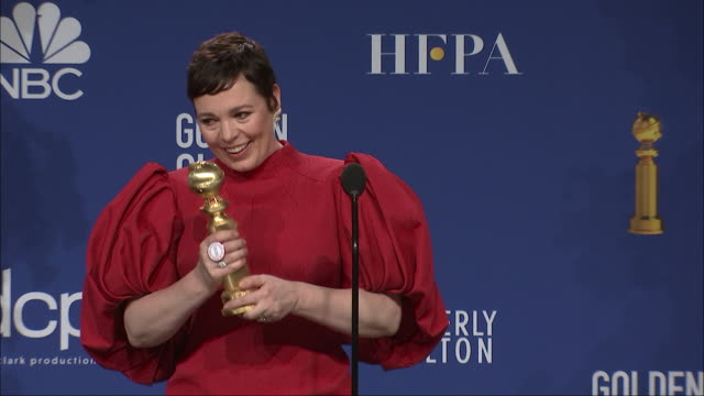 olivia colman at the 77th annual golden globe awards at the beverly hilton hotel on january 05, 2020 in beverly hills, california. - the beverly hilton hotel stock videos & royalty-free footage