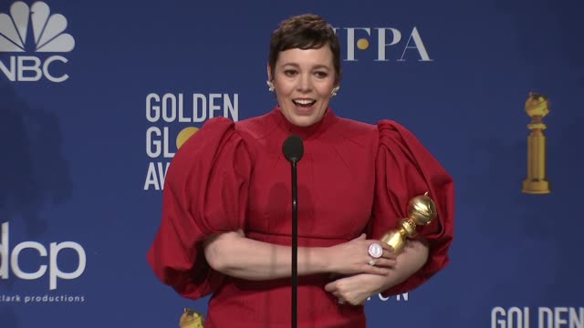 olivia colman at the 77th annual golden globe awards - press room at the beverly hilton hotel on january 05, 2020 in beverly hills, california. - golden globe awards stock videos & royalty-free footage
