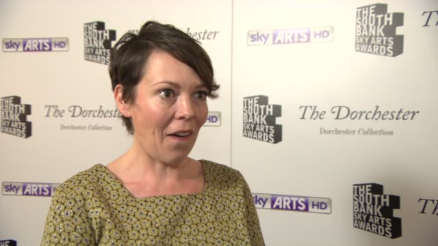 INTERVIEW Olivia Colman on filming Broadchurch at South Bank Sky Arts Award at Dorchester Hotel on January 27 2014 in London England