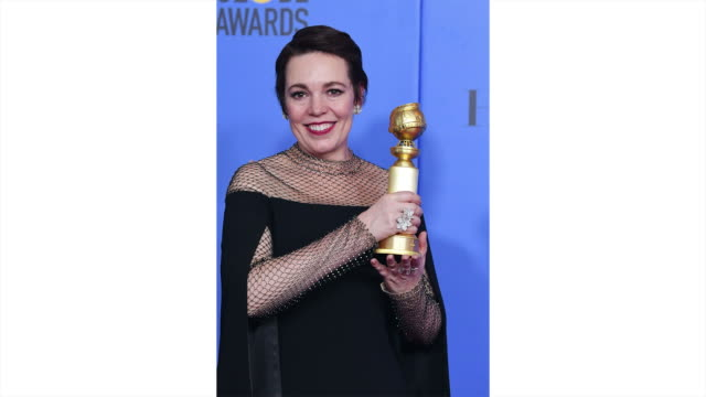 olivia colman poses in the press room during the 76th annual golden globe awards held at the beverly hilton hotel on january 6 2019 - golden globe awards stock videos & royalty-free footage