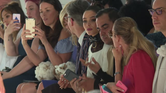 olivia culpo bibhu mohapatra and guests watch models walk the runway during supima september 2016 new york fashion week at skylight clarkson studios... - modewoche stock-videos und b-roll-filmmaterial