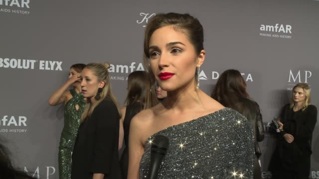 INTERVIEW Olivia Culpo talks about the importance of amfAR's work at 20th Annual amfAR Gala New York at Cipriani Wall Street on February 07 2018 in...
