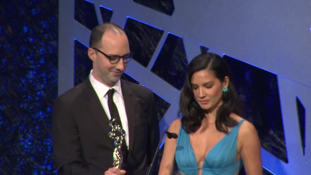 SPEECH Olivia Munn and Tony Hale at The 16th Costume Designers Guild Awards at The Beverly Hilton Hotel on February 22 2014 in Beverly Hills...