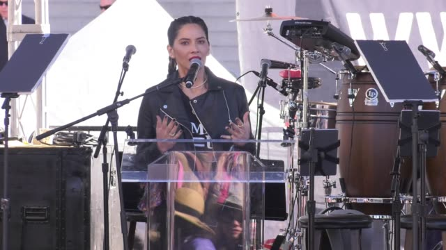 INTERVIEW Olivia Munn at 2018 Women's March Los Angeles on January 20 2018 in Los Angeles California