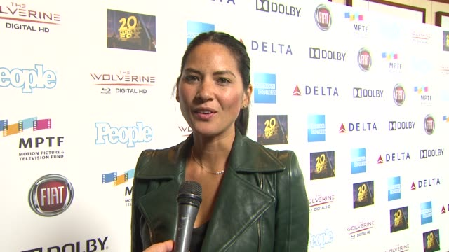 interview olivia munn birthday wishes at hugh jackman one night only debuts at the dolby theatre benefiting mptf on 10/12/13 in los angeles ca - olivia munn stock videos and b-roll footage