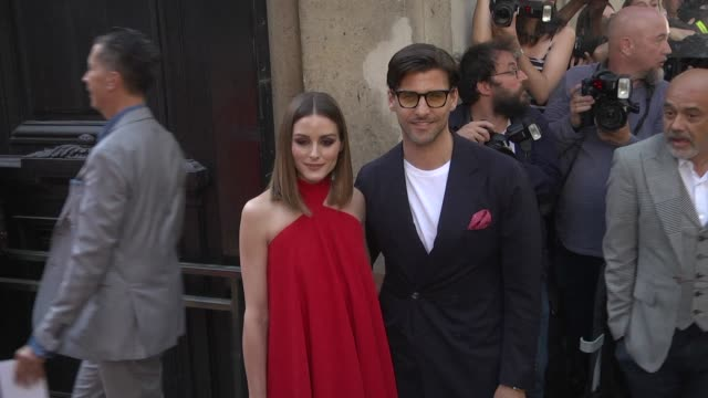Olivia Palermo and Johannes Huebl arrive at the Valentino Haute Couture Fall Winter 2018/2019 show as part of Paris Fashion Week on July 4 2018 in...